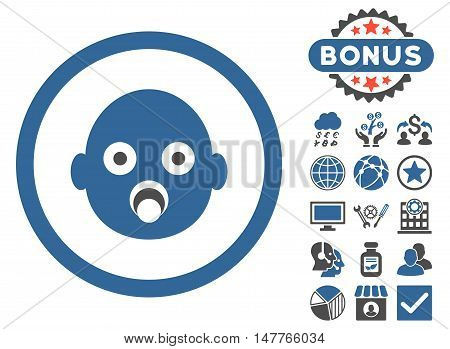 Baby Head icon with bonus pictogram. Vector illustration style is flat iconic bicolor symbols, cobalt and gray colors, white background.