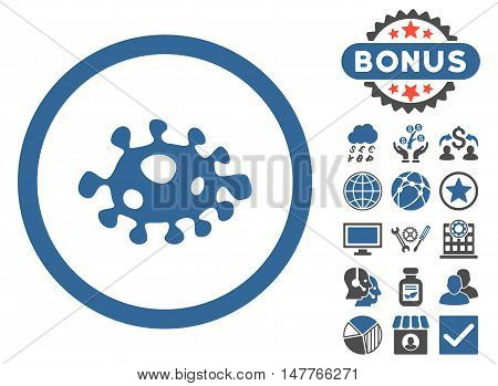 Bacteria icon with bonus pictures. Vector illustration style is flat iconic bicolor symbols, cobalt and gray colors, white background.