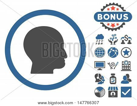 Bald Head icon with bonus pictogram. Vector illustration style is flat iconic bicolor symbols, cobalt and gray colors, white background.