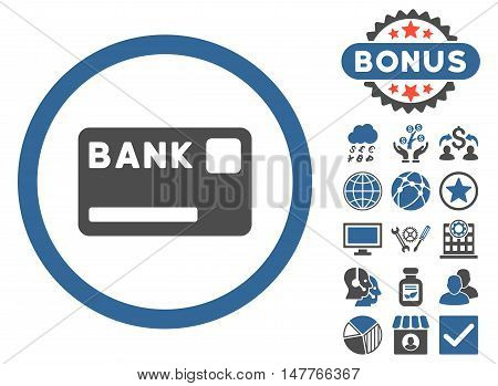 Bank Card icon with bonus symbols. Vector illustration style is flat iconic bicolor symbols, cobalt and gray colors, white background.