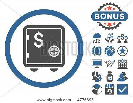 Banking Safe icon with bonus design elements. Vector illustration style is flat iconic bicolor symbols, cobalt and gray colors, white background.