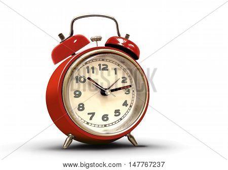Retro alarm clock with red body over white