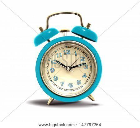 Blue alarm clock ringing over white background