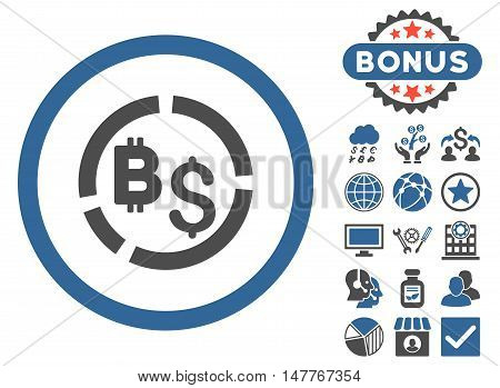 Bitcoin Financial Diagram icon with bonus pictogram. Vector illustration style is flat iconic bicolor symbols, cobalt and gray colors, white background.