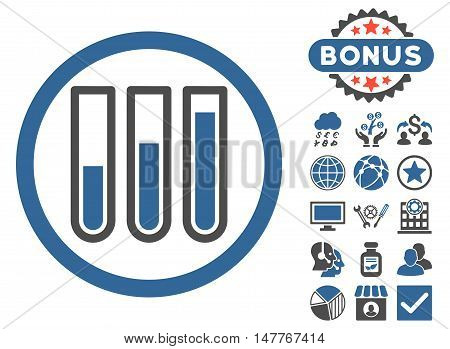Blood Test Tubes icon with bonus design elements. Vector illustration style is flat iconic bicolor symbols, cobalt and gray colors, white background.