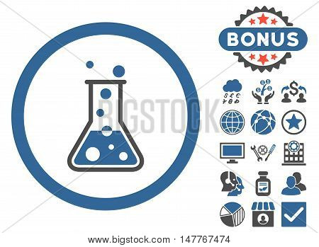 Boiling Liquid Flask icon with bonus design elements. Vector illustration style is flat iconic bicolor symbols, cobalt and gray colors, white background.