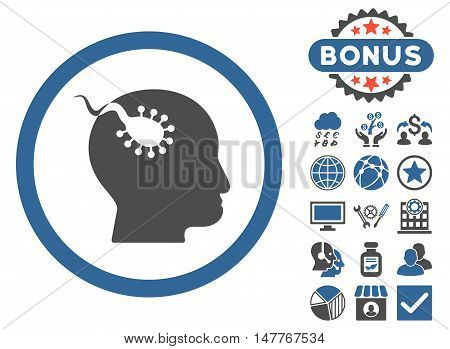 Brain Parasite icon with bonus images. Vector illustration style is flat iconic bicolor symbols, cobalt and gray colors, white background.