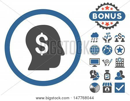 Businessman icon with bonus symbols. Vector illustration style is flat iconic bicolor symbols, cobalt and gray colors, white background.
