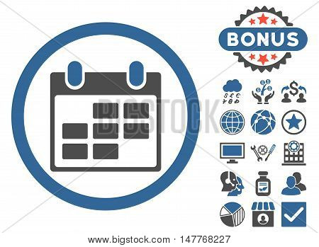 Calendar icon with bonus symbols. Vector illustration style is flat iconic bicolor symbols, cobalt and gray colors, white background.