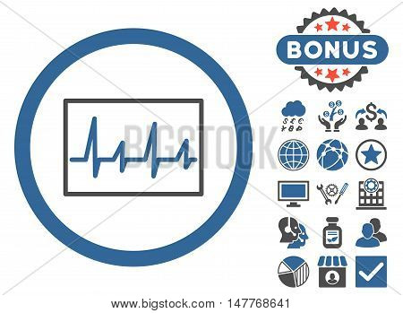 Cardiogram icon with bonus elements. Vector illustration style is flat iconic bicolor symbols, cobalt and gray colors, white background.