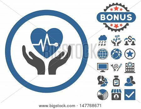 Cardiology icon with bonus images. Vector illustration style is flat iconic bicolor symbols, cobalt and gray colors, white background.
