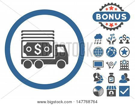 Cash Lorry icon with bonus images. Vector illustration style is flat iconic bicolor symbols, cobalt and gray colors, white background.