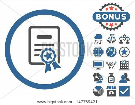 Certified Diploma icon with bonus elements. Vector illustration style is flat iconic bicolor symbols, cobalt and gray colors, white background.