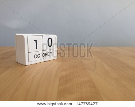 October 10Th.october 10 White Wooden Calendar On Vintage Wood Abstract Background.autumn Day.copyspa