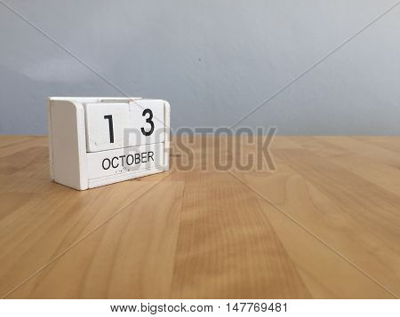 October 13Th.october 13 White Wooden Calendar On Vintage Wood Abstract Background.autumn Day.copyspa