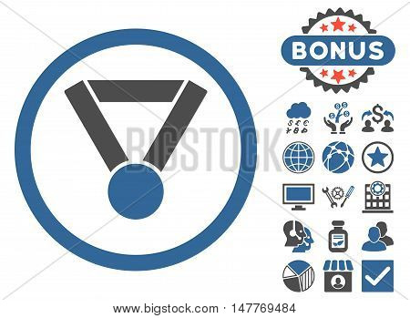 Champion Award icon with bonus pictures. Vector illustration style is flat iconic bicolor symbols, cobalt and gray colors, white background.