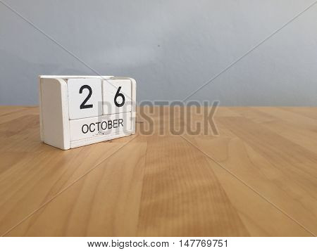 October 26Th.october 26 White Wooden Calendar On Vintage Wood Abstract Background.autumn Day.copyspa