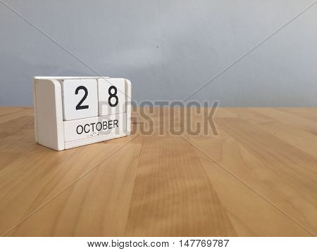 October 28Th.october 28 White Wooden Calendar On Vintage Wood Abstract Background.autumn Day.copyspa