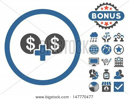 Coins Sum icon with bonus pictogram. Vector illustration style is flat iconic bicolor symbols, cobalt and gray colors, white background.