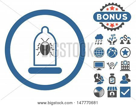 Condom Bug icon with bonus design elements. Vector illustration style is flat iconic bicolor symbols, cobalt and gray colors, white background.