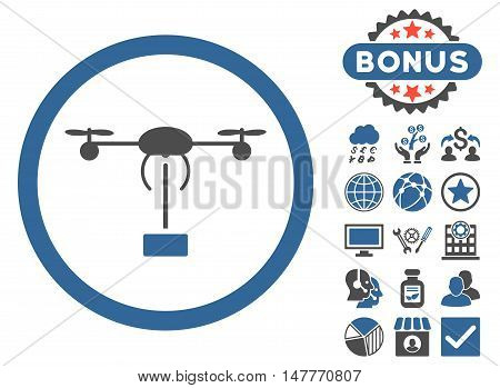 Copter Shipment icon with bonus symbols. Vector illustration style is flat iconic bicolor symbols, cobalt and gray colors, white background.