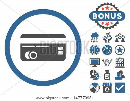 Credit Card icon with bonus design elements. Vector illustration style is flat iconic bicolor symbols, cobalt and gray colors, white background.