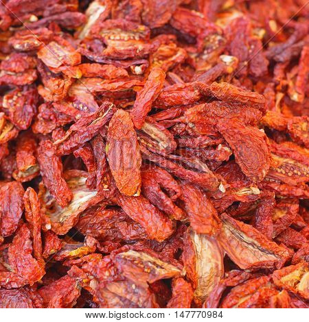 Big Pile of Sun Dried Tomatoes Form Italy