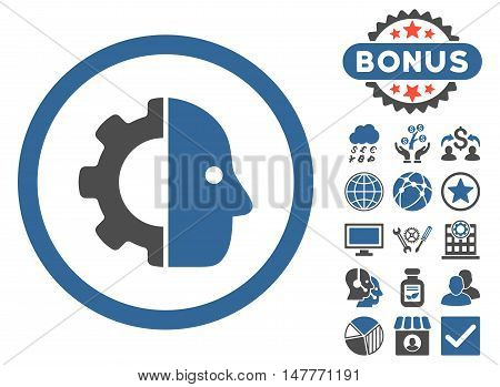 Cyborg icon with bonus design elements. Vector illustration style is flat iconic bicolor symbols, cobalt and gray colors, white background.