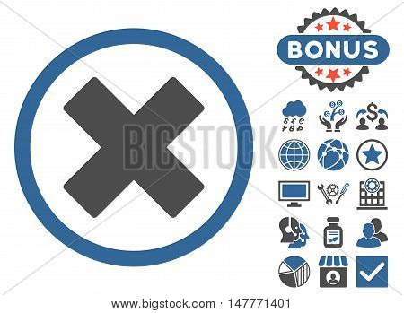 Delete X-Cross icon with bonus design elements. Vector illustration style is flat iconic bicolor symbols, cobalt and gray colors, white background.