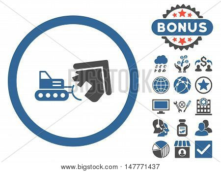 Demolition icon with bonus elements. Vector illustration style is flat iconic bicolor symbols, cobalt and gray colors, white background.
