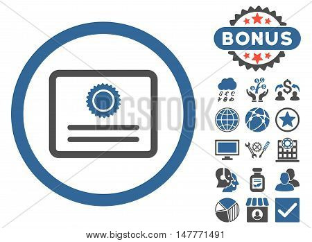 Diploma icon with bonus design elements. Vector illustration style is flat iconic bicolor symbols, cobalt and gray colors, white background.