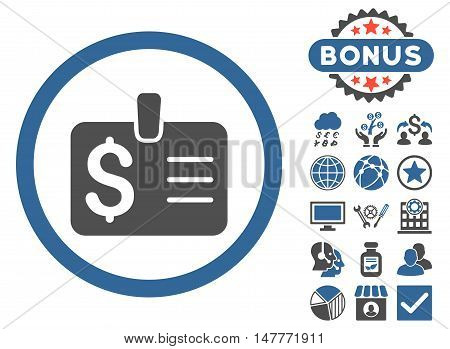 Dollar Badge icon with bonus symbols. Vector illustration style is flat iconic bicolor symbols, cobalt and gray colors, white background.
