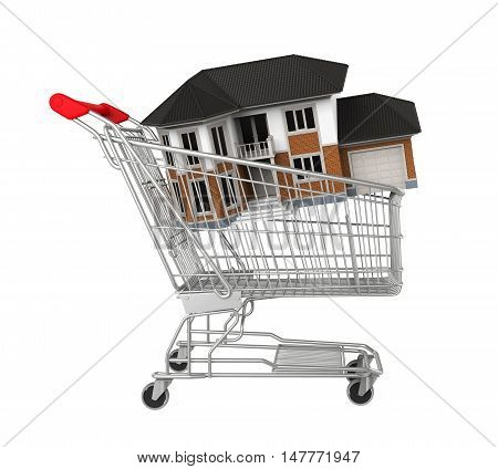 Shopping Cart with House isolated on white background. 3D render