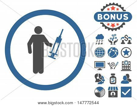 Drug Dealer icon with bonus symbols. Vector illustration style is flat iconic bicolor symbols, cobalt and gray colors, white background.