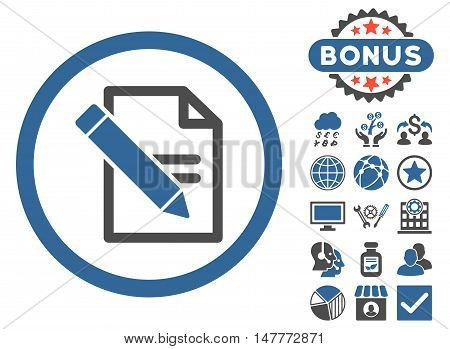Edit Records icon with bonus pictures. Vector illustration style is flat iconic bicolor symbols, cobalt and gray colors, white background.