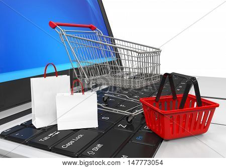 Online Shopping E-Commerce Concept isolated on white background. 3D render