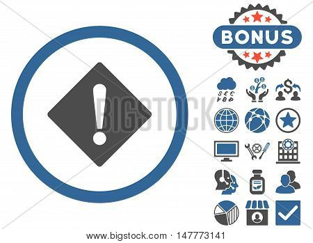 Error icon with bonus images. Vector illustration style is flat iconic bicolor symbols, cobalt and gray colors, white background.