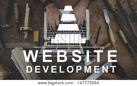 Constuction Hammer Wedge Website Webpage Concept