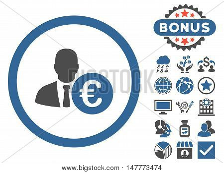 Euro Banker icon with bonus design elements. Vector illustration style is flat iconic bicolor symbols, cobalt and gray colors, white background.
