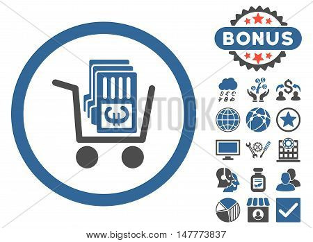 Euro Cash Out icon with bonus pictogram. Vector illustration style is flat iconic bicolor symbols, cobalt and gray colors, white background.