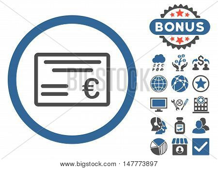 Euro Cheque icon with bonus elements. Vector illustration style is flat iconic bicolor symbols, cobalt and gray colors, white background.