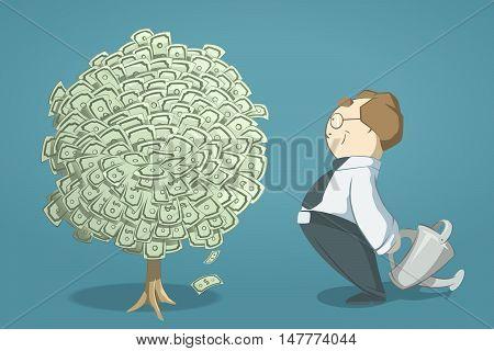 Happy smile successful man entrepreneur looking on money tree. Creative vector 3d color illustration.
