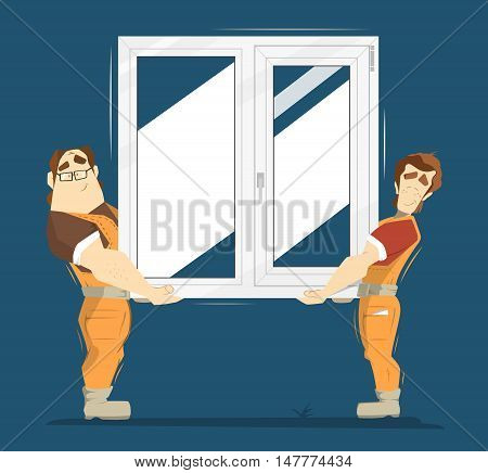 Upvc plastic window color illustration. Two man holding plastic window.