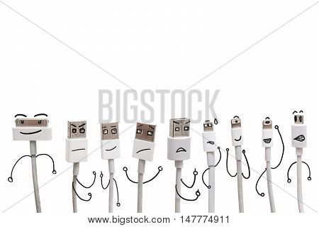 Various USB cable ports with funny cartoon character face, isolated on white background