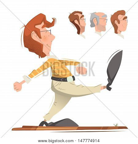 Smart clever responsible executive man employee office worker going forward. Color vector illustration.