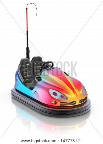 Colorful electric bumper car over white reflective background - 3d illustration
