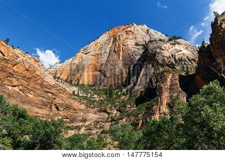 Layers upon layers of colorful red rock peaks Zion National Park Utah