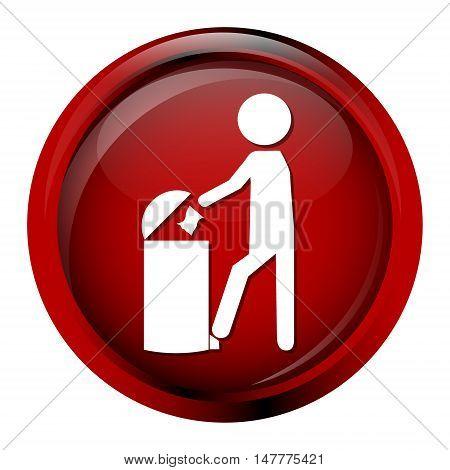 Trash bin with man icon symbol vector illustration