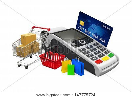Online Shopping Concept isolated on white background. 3D render