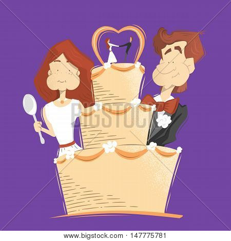 Big cream wedding cake illustration. Happy smile groom and bride woman and man eating wedding cake.